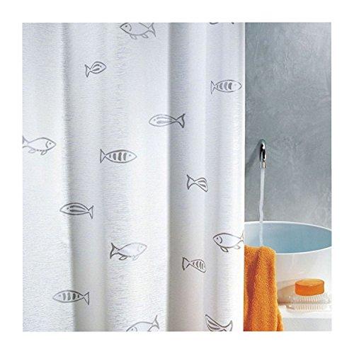 Preisvergleich Produktbild Spirella Textil-Duschvorhang Kos silber 180 x 180 cm