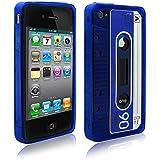 PrimaCase - Blau - TPU Silikon Retro Tape Kassette Case für Apple iPhone 4 / 4S