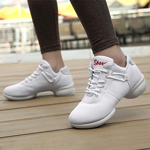 Tanzen Jazz Sneaker Walking Gymnastik Lightweight Turnschuhe Damen Fitness Schuhe 3.5cm Schwarz Rosa Rot Weiß 35-41 Weiß