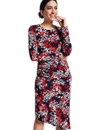Ex Marks and Spencer Per Una Navy Purple Floral  Dress Size 8 OR