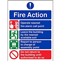 vsafety 12004 an-s Fire Action Sign, generale Fire Action divieto/Non Ritorno, Autoadesivo, verticale, 150 mm x 200 mm, colore: blu/verde/rosso