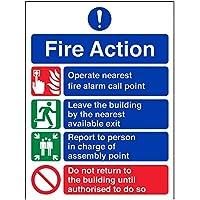vsafety 12004an-s Fire Action Sign, generale Fire Action divieto/Non Ritorno, Autoadesivo, verticale, 150mm x 200mm, colore: blu/verde/rosso
