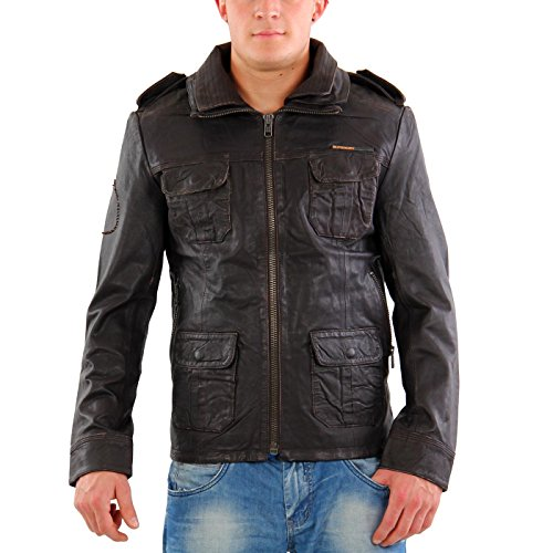 Superdry - Brad Leather Jacket - Brown Brown