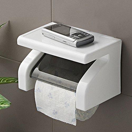 Woopower Toilettenpapierhalter, wasserfest, zur Wandmontage, Kunststoff, Toilettenpapier-Box, Spender, Badezimmer-Werkzeug mit Handy-Ablage, weiß