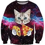 Ninimour Womens'Crew Neck Pullover Cat Galaxy Printed Sweatshirt