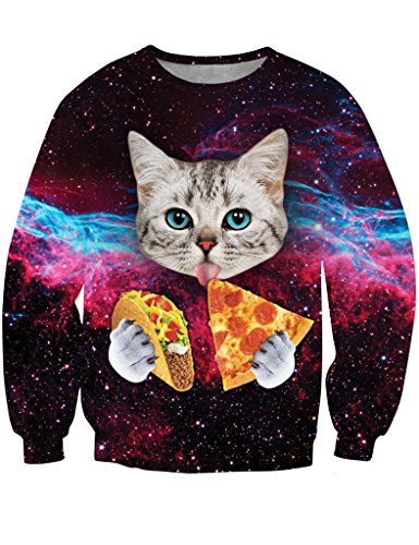 ninimour-womenscrew-neck-pizza-cat-galaxy-printed-sweatshirt-size-m