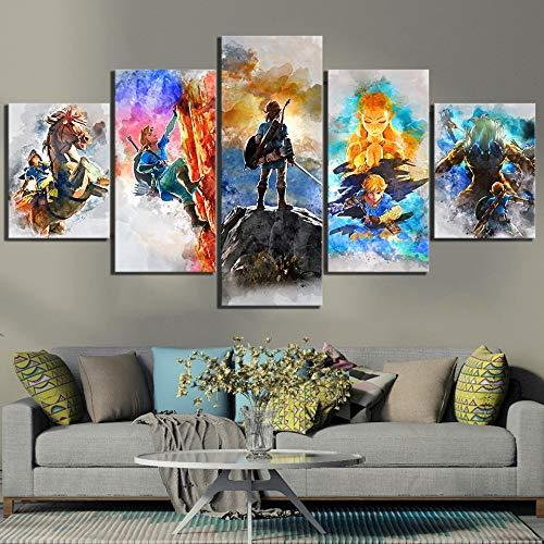 CXDM Wohnkultur Druckt Malerei 5 Panel Die Legende Von Zelda Bilder Spiel Wandkunst Modular Leinwand Poster Modernes Bett Hintergrund,A,30×50×230×70×230×80×1 -