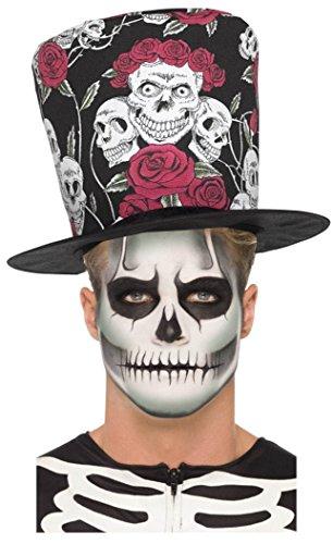 Tag der Toten Sugar Skull Rose Schwarz Rot Zylinderhut + Glühen im dunklen Skelett Schmink Set