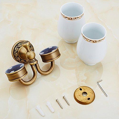 Brosse à dents porte-gobelet Xzi cuivre Double porte-gobelets blanc Double tasse européenne style rétro 17 * 15cm A+