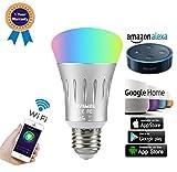Emwel 7W Smart WiFi Lampe dimmbar Glühbirnen E27 RGB LED Birne ändern Stimmung Licht Arbeit mit Amazon Alexa Echo Echo dot Echo Plus Google Home Fernbedienung von Smartphone iOS und Android