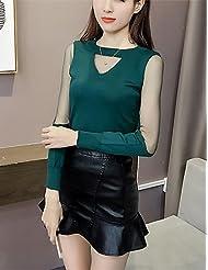 Erica Normal Pullover Femme D¨¦contract¨¦ / Quotidien simple,Couleur Pleine Rose Blanc Noir Marron Vert Col Arrondi Manches Longues Polyester