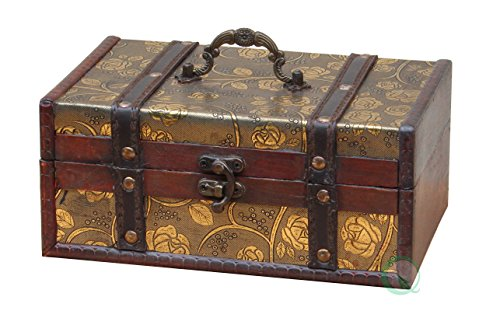 Vintiquewise Decorative Leather Treasure Trunk Box, Wood, Antique Brown