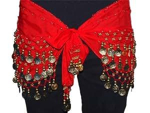 Ceinture/Costume Danse Orientale Sequins dorés, Rouge, Belly Dance Foulard Hip