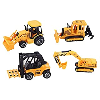 ToyZe 5-Zoll-Metall- und Kunststoff-Bausatz für Baufahrzeuge, Bulldozer, Gabelstapler, Frontlader-Traktor und Bagger TR-F4