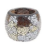 Homyl Mosaikglas Windlicht Teelichthalter Teelicht Kerzenhalter Mosaik Deko Kugel, Farbwahl - Silber