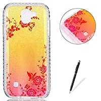 LG K3 2017 Case Silicone,[with Free Black Touch Stylus] KaseHom Gradient Colour Gold and Pink Soft TPU Bumper Skin Bling Glitter Diamond Unique Fashion Design Pattern Ultra Slim Shell Shockproof Anti-Scratch Protective Cover for LG K3 2017,Secret Garden