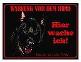 LUGUNO Warnschild Schäferhund Hier Wache Ich 20x15 cm Schwarz Hundeschild Schild Hund Aluminium Spruch Türschild Warnung Achtung Mit Klebestreifen