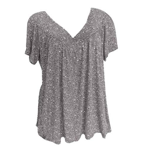 iHENGH Damen Sommer Top Bluse Bequem Lässig Mode T-Shirt Blusen Frauen Plus Size Kurzarm V Ausschnitt Print Bluse Pullover Tops Shirt(Grau, S) (Halloween 90 Max Air)