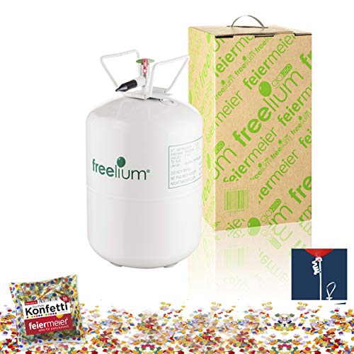 freelium® go 250 - Helium / Ballongas To Go Flasche mit satten 0,25 m³ / 250 Liter + 50x Ballonband + Konfetti