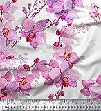 Soimoi Blanc Satin de Soie en Tissu Oiseaux et orchidées Fleur Tissu Imprime Metre 42 Pouce Large