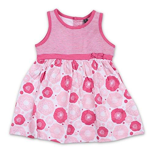 Sommer Kleid Streifen Blumen pink weiß 12-18 Monate (80/86)