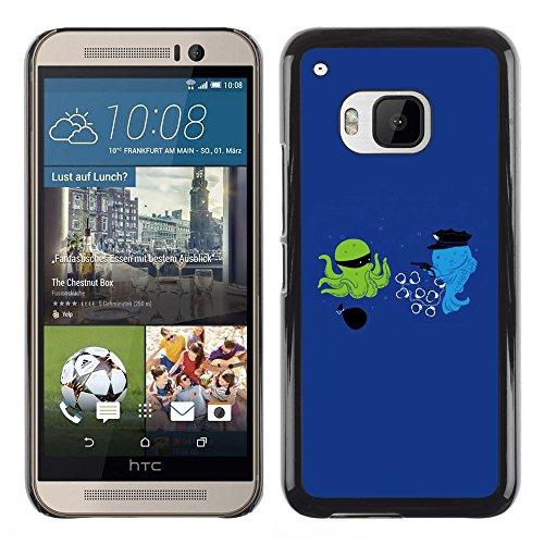DEMAND-GO Handy Durabel Hart Schutz Hülle Einzig Bild Schale Cover Etui Case Für HTC One M9 - Cartoon lustige optimistisch blau