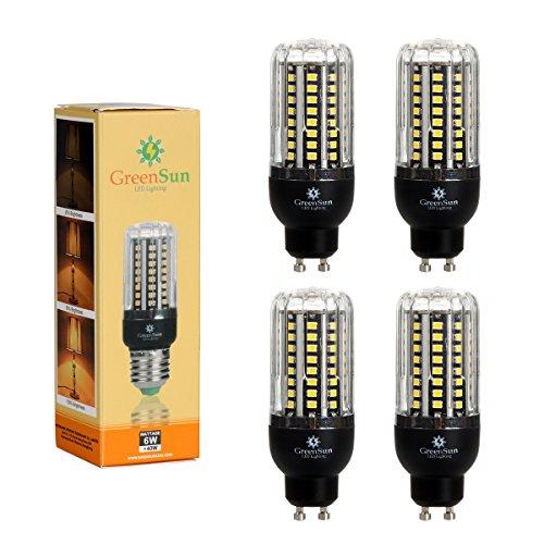 4×GreenSun LED GU10 Fassung 6W Mais Birne Beleuchtung SMD2835 80LEDs Leuchtmittel Corn Light...