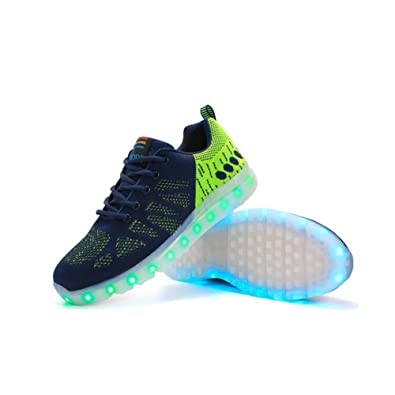 LED Shoes LED Shoes Flashing Breathable Athletic Shoes Casual Shoes Ghost Steps Dance Shoes (Color : Green Size : 38)