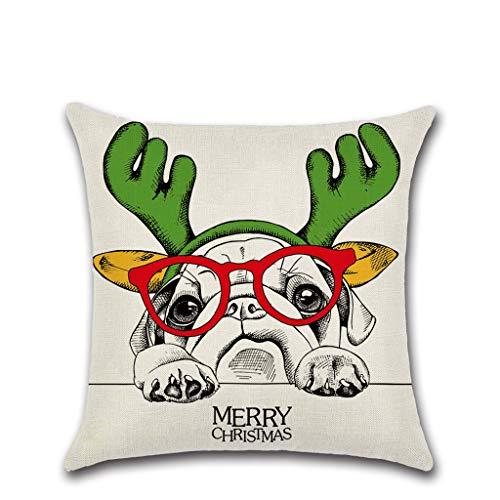 Zhangcr Frohe Weihnachten Cute Puppy Magic Winter Dekorationen Kissenbezüge -