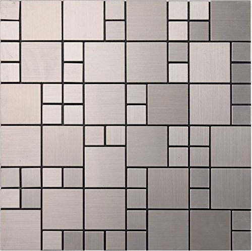 Shiny 5 facets diamond glass mix metal self-stick mosaic tiles for wall, Aluminium Plastic Panel Self Adhesive mosaic tiles sticker, 12x12/sheet, LSL02 (5 pieces | 5 sq.ft/0.5 sqm, L02)