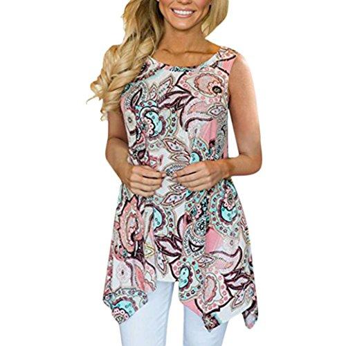 IMJONO Damen Women es Casual unregelmäßig Bedruckt Ärmel Lose Asymmetrische Locker Tunika Bluse Tops