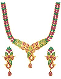 Valentine Gifts: Voylla Traditional Brass With Yellow Gold Plated Cubic Zirconia Necklace Sets For Women, Girlfriend...