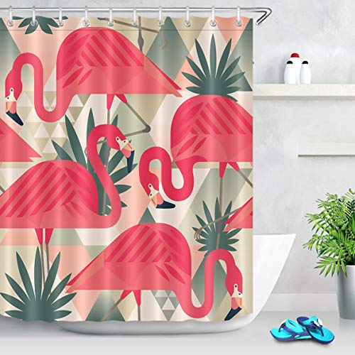 ZHOU Jungle flamencos rosas Cortina de ducha Playa exótica, Patchwork Tropical plátano hojas Con Estampado impermeable Anti-molde poliéster Tela cortinas de baño Con 12 ganchos de Cortina 180x200cm