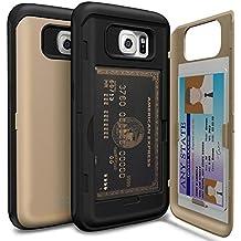 Funda porta tarjetas de crédito Samsung Galaxy S6 [TORU CX Pro] [Dorada] Carcasa Galaxy S6, Funda cartera tarjetero, estuche práctico, original, de calidad premium y discreto, [protección antigolpes] [Funda rígida con espejo] [soporte multimedia] para Samsung Galaxy S6 [Color] - Oro
