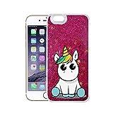 finoo | iPhone 6 Plus / 6S Plus Flüssige Liquid Pinke Glitzer Bling Bling Handy-Hülle | Rundum Silikon Schutz-hülle + Muster | Weicher TPU Bumper Case Cover | Einhorn 02