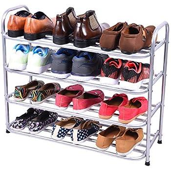 Benesta Multi-Purpose Steel Shoe Rack - (4 Tier, Silver)