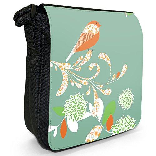 Eleganter Vogel auf Blume Kleine Schultertasche aus schwarzem Canvas Sommergrün