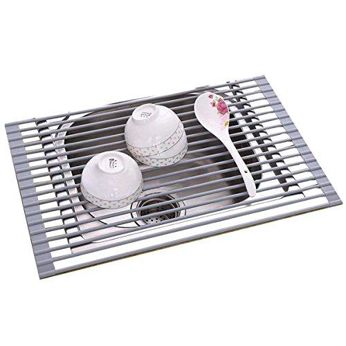 Silicona Plato escurridor escurreplatos, acabado satinado de acero inoxidable, se puede lavar en lavavajillas. Más de fregadero 53 * 33 cm