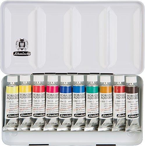Schmincke Aquarellfarbe, Horadam Aquarell Malkasten, Metallkasten, 10 x 15ml Tuben