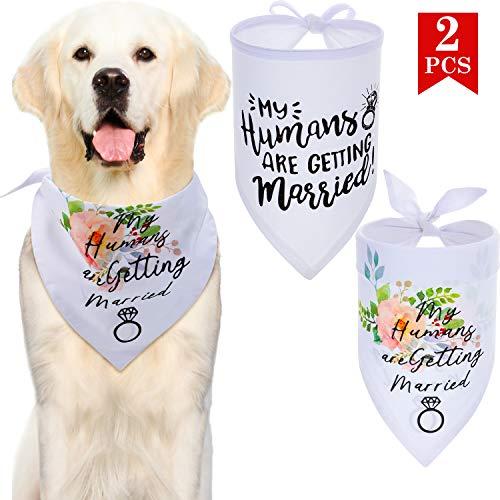 Frienda 2 Stück Meine Menschen Heiraten Hund Bandana Hochzeit Hund Lätzchen Valentinstag Hund Schal Haustier Schal Hochzeit Foto Requisit Schal für Hund Haustier Zubehör