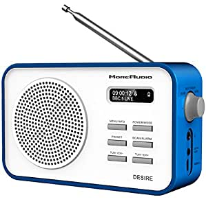 moreaudio desire dab digital fm radio alarm clock rechargable battery mains powered blue. Black Bedroom Furniture Sets. Home Design Ideas