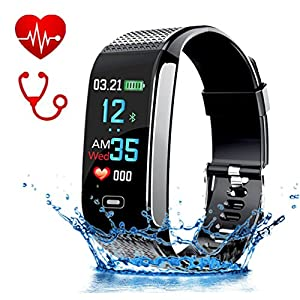 Fitness-Tracker HR, mit Farbbildschirm, Aktivitäts-Tracker mit Herzfrequenz-Monitor, Schrittzähler, Blutdruckmesser, GPS, Smart-Armband mit Anruf/SMS-Erinnerung für Android und iPhone