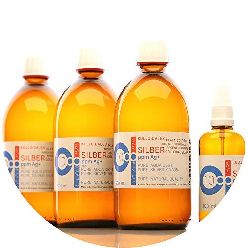 PureSilverH2O 1600ml Kolloidales Silber (3X 500ml/10ppm) + Flasche (100ml/10ppm) Reinheit & Qualität seit 2012 preisvergleich