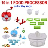 A To Z Sales (Argos) Jony 10-in-1 Plastic Manual Food Processor/Slicer/Chipser/Grater - Color May Vary
