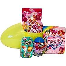 Gran Niñas sorpresa huevo relleno de tela con bolsas y sorpresa huevos, Shopkins, magiki sirena, My Little Pony