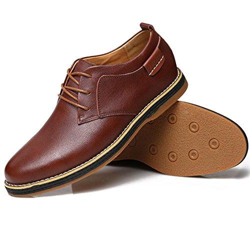 Chaussures Pour Hommes Loisirs Cuir Tendon Dress Automne Mariage Business Lace-up Slip Sur Brown-noir A