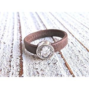 Lederring vintage braun mit Zamak Kristall Geschenk Valentinstag