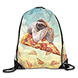 rwwrewre Kordelzug Turnbeutel,Funny Sloth Pizza Backpack Draw Drawstring Bag Backpack Bags Sports Sack String Backpack Storage Bags for Gym Traveling
