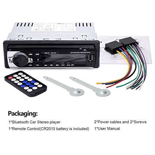 Andven Autoradio Bluetooth, 4x60W FM Radio Voiture 1 Din, Récepteur Bluetooth Mains Libres avec Intégré EQ, Soutient AUX/USB/SD et Télécommande