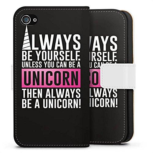 Apple iPhone X Silikon Hülle Case Schutzhülle Unicorn Einhorn Sprüche Sideflip Tasche weiß